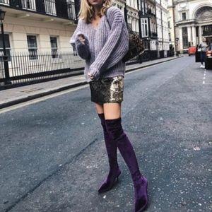 81f566228fc5 Zara Shoes - ZARA PURPLE VELVET OVER-THE-KNEE HIGH HEEL BOOTS